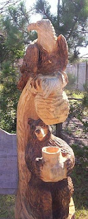 Eagle and Bear carving