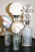 Vintage Shell Bottle Collection in White and Crystal