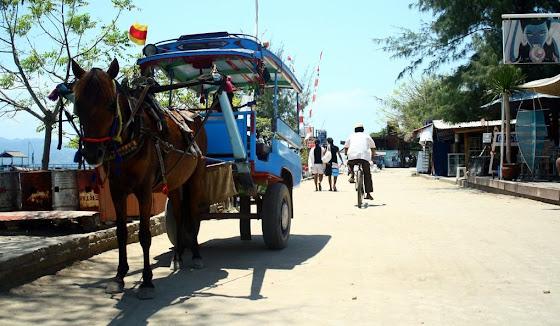 Uno de los carritos tirados a caballo en la isla Gili Trawangan, en Indonesia