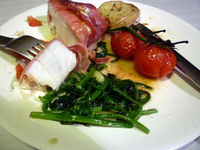 3 hungry tummies baked rockling fillet wrapped in prosciutto for Side dishes for baked fish