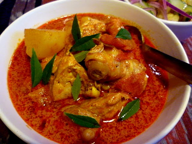 Kari Ayam Malaysian Chicken Curry on cream kitchen pantry