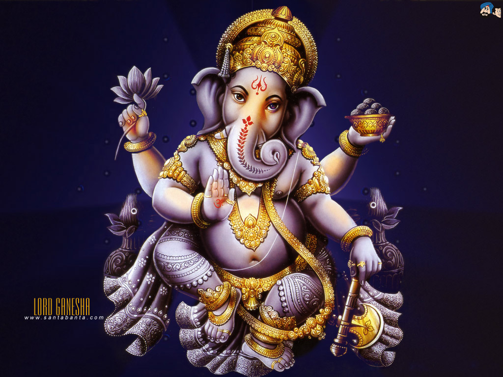 Lord Ganesha wallpapers download pic:Brass choki Ganesha