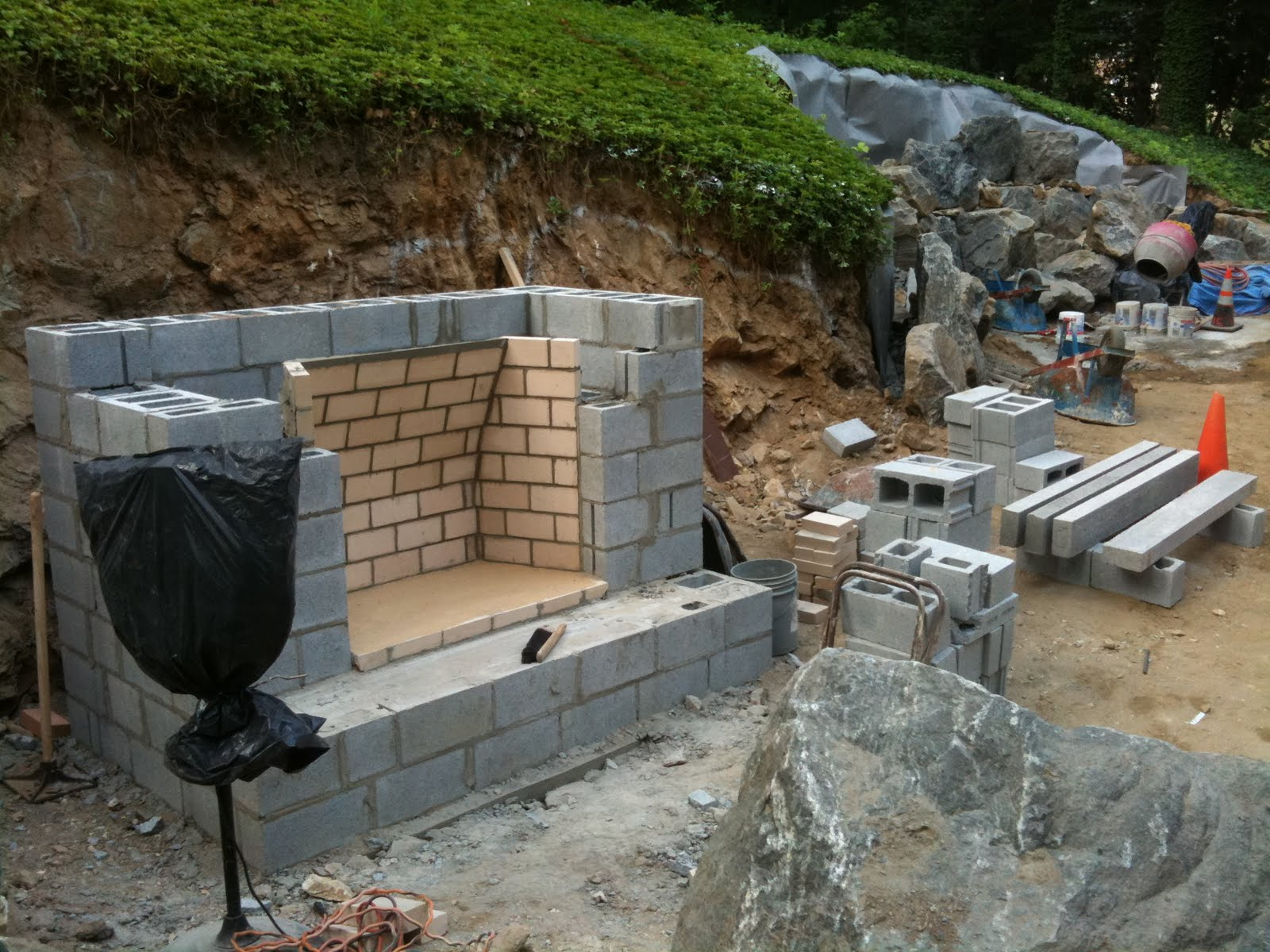 Keenan construction excavation outdoor fireplace for Outdoor fireplace blueprints