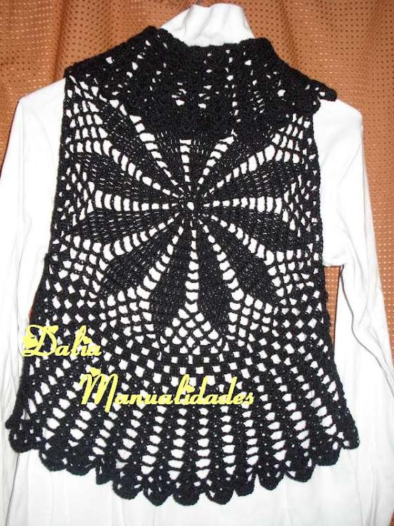 chaleco circular para nena en negro