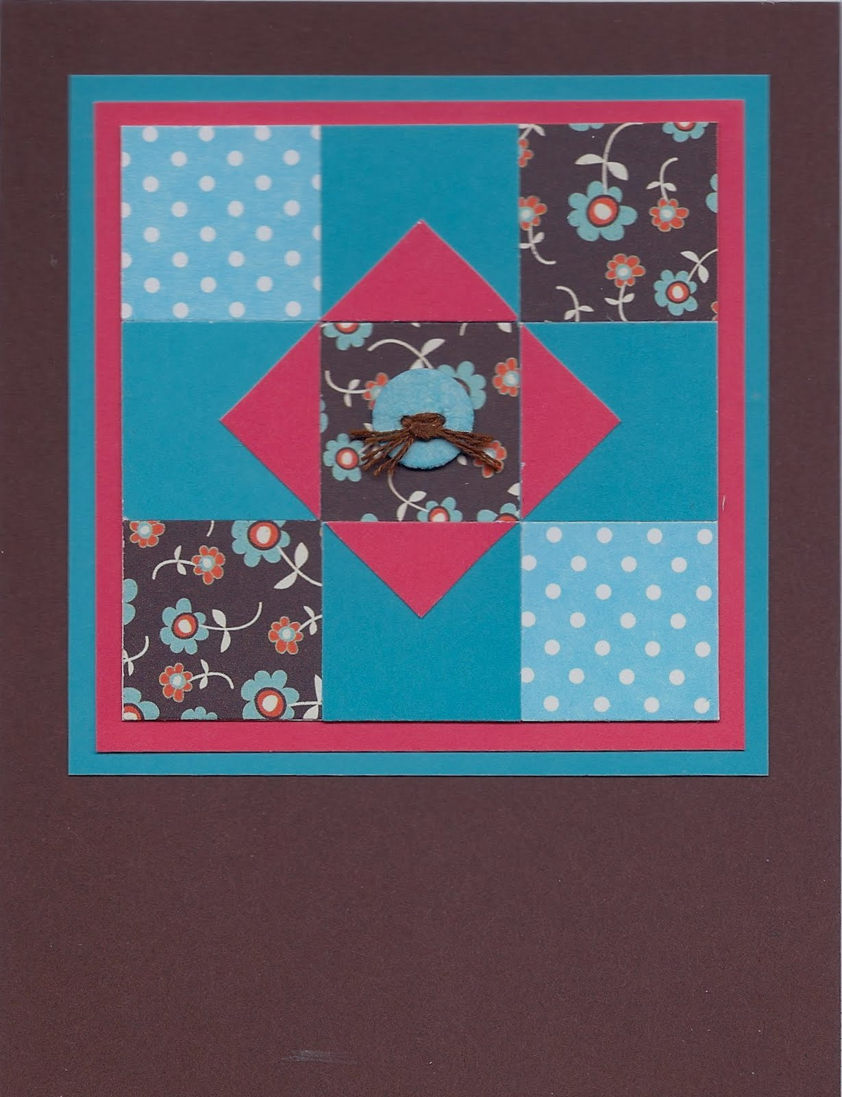 Mostly Markers Cards Quilt Pattern Card Brown With Blue And Red