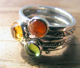 stacking rings sterling silver peridot citrine sunstone
