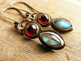 rose cut garnet labradorite sterling silver earrings