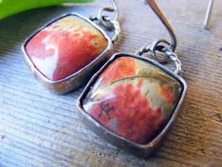 opaque jasper gemstone sterling silver earrings