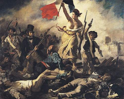 Image of painting by Eugène Delacroix (1798-1863) entitled ' La Liberté guidant le peuple', or 'Liberty guiding the People'. This image is in the public domain and is sourced from the Wikimedia Commons.