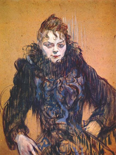 Henri Toulouse Lautrec, 'Woman with a black feather boa'