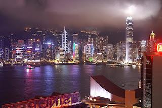 night time skyline of Victoria Harbour, HK,