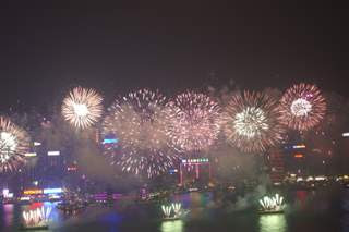 Picture of Hong Kong's Victoria Harbour taken at night by fireworks light