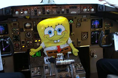 Spongebob Squarepants flying a plane