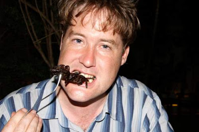 Image of your humble scribe eating a tarantula