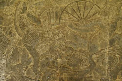 Image of a battle scene from a corridor in Angkor Wat, image 1 of 3.