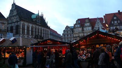 Image of the Schuetting, Guild House of the Merchants, in Bremen Germany, behind the traditional Christmas Market.