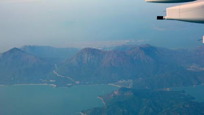 Image of a view of Hong Kong Island, the uninhabited bits (most of it) from a plane.