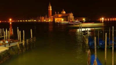Image of the Church of San Giorgio Maggiore, as seen from Venice near waterbus stop Giardini on the Grand Canal.