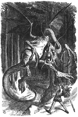 Image of the battle with the Jabberwock by English illustrator Sir John Tenniel (1820-1914) from