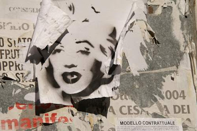 Graffiti image of Marilyn Monroe from the old town centre of Genoa, Italy.