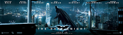 Image of the promotional poster for the 'The Dark Night', 2008, with Christian Bale as Batman.