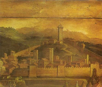 Image of a detail from Giorgio Vasari's (1511–1574) painting of Brunelleschi's Rocca Nuova in Vasari, Pisa, which had been conquered by Brunelleschi's Florence. This image was sourced from the Wikimedia Commons and used under under a reliance that it is in the public domain, as asserted by the Wikimedia Commons.