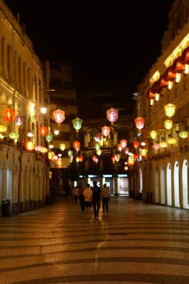 Image of lit Chinese lanterns in the old town, Macau.