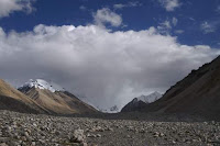 Image of clouds shrouding Mt. Everest / Qomolangma.