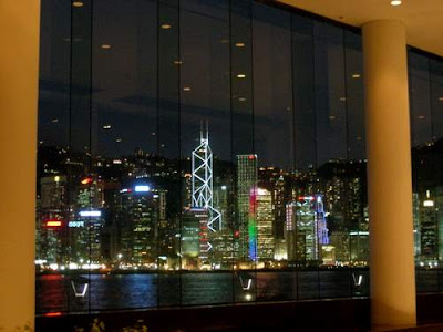 Image of the Hong Kong Island skyline from the lounge of the Intercontinental Hotel in Hong Kong, again, after dinner. This image is entitle 'See? Gin and Tonics make everything better... Next stop, Nobu's...'.