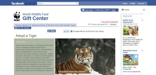 World Wildlife Fund launches first ever non-profit gift catalog via Facebook