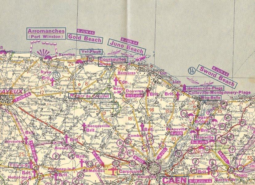 Blog BIBimage: 6 juin 1944 - carte Michelin de la bataille de Normandie