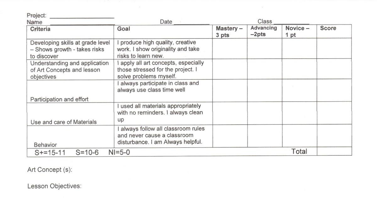 tamara hallock art teaching portfolio  basic elementary rubric
