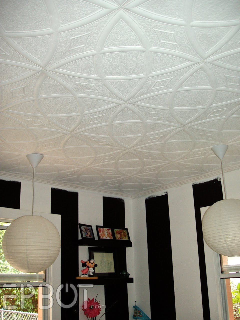 Epbot officially a mess i have to rave about these ceiling tiles for a second theyre made of lightweight foam and simply glue over existing popcorn ceilings fo realz dailygadgetfo Images