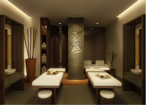 Interior decorations spa massageroom for Spa interior designs