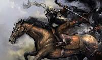 Рыцарь тьмы скачущий на коне в расвет