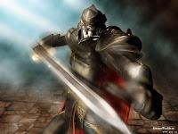 Рыцарь воин с мечом в расплывшемся движении