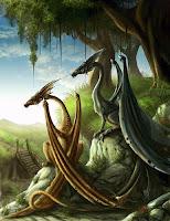 два дракона под сенью деревьев на холме у реки
