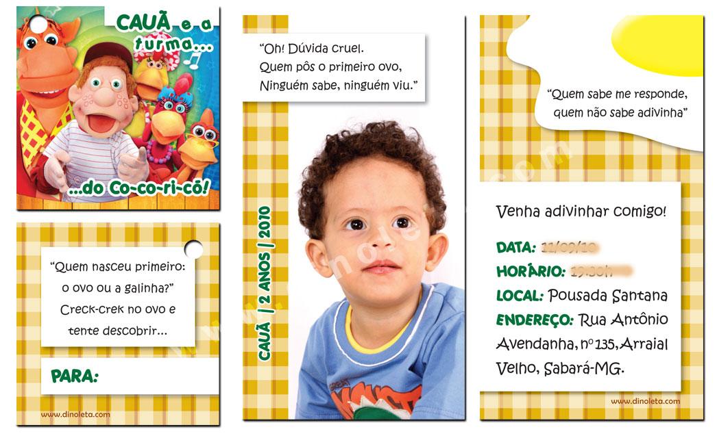 Convite Cauã - 2 anos. Tema: Cocoricó