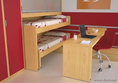 La cameretta Sirius soppalcata offre due letti, una scrivania e armadi ...