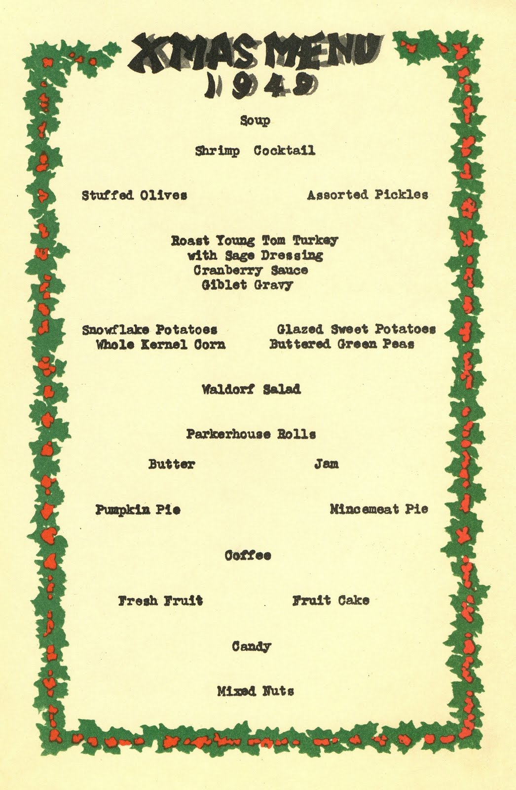 The Christmas Menu For The First Class Dining Car On A