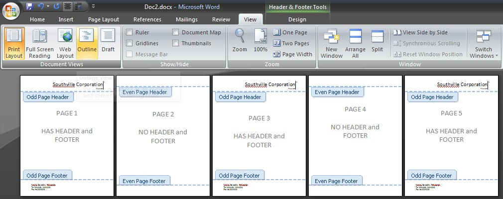 how to stop header from repeating in word