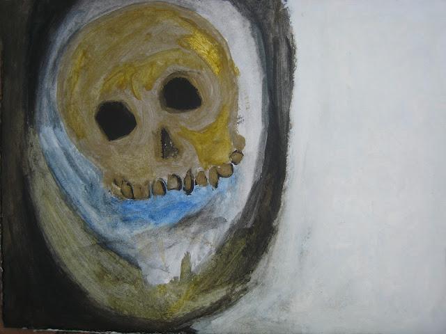 Calavera: cráneo humano podrido con dientes y muelas de oro