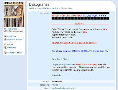 'Discografias', maior comunidade de troca de músicas do Orkut é encerrada.