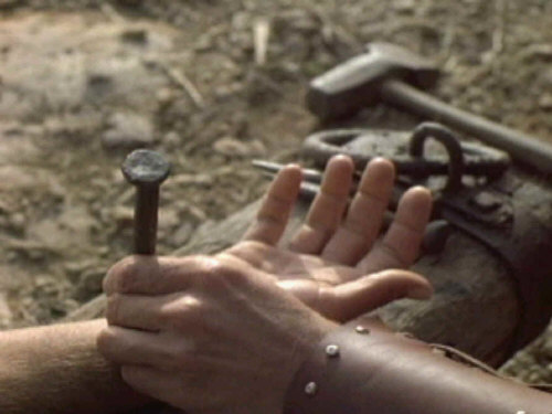nailing jesus to cross. Jesus died on the cross