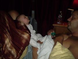 Falling asleep on my dads legs