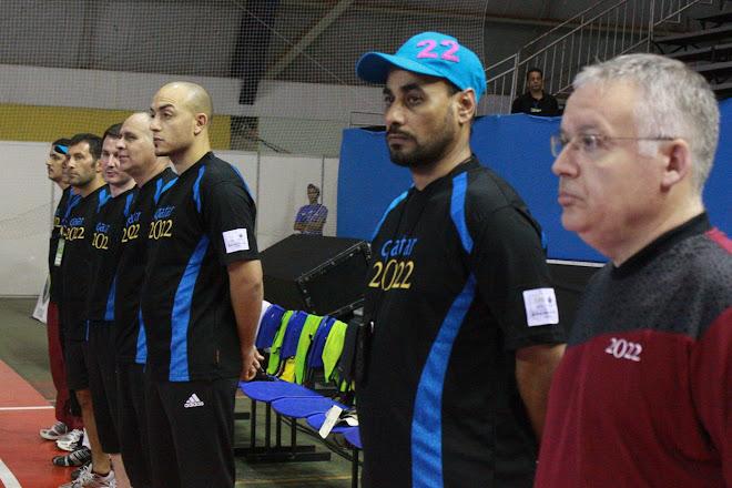 Qatar  Futsal Coaching Staff raised eyebrow during the game won by Russia 9 to 2 Qatar