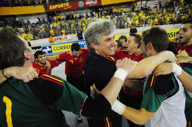One team one Champion only one coach Venancio Lopez Spain Futsal FIFA History