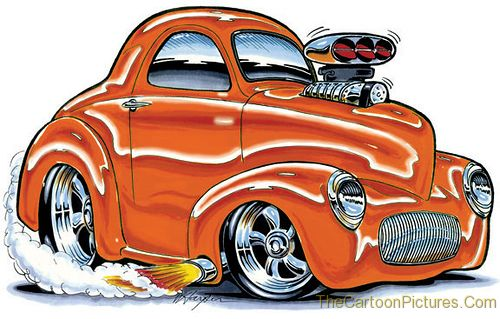 cartoon old car