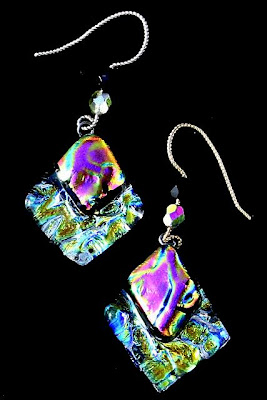 aurora borealis StarMara fused glass earrings