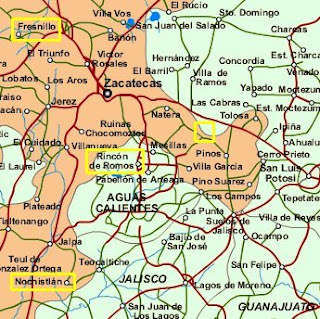 Map of State of Zacatecas, Mexico